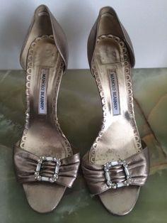Manolo Blahnik Gold Leather Stiletto High Heel Sandals, IT Sz 39 US 9.5 #ManoloBlahnik #Stilettos