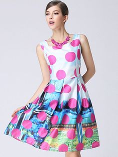 Rose Red Sleeveless Polka Dot A Line Dress pictures Prom Dresses Online, Prom Party Dresses, American English, Dress Picture, Online Dress Shopping, Red Roses, Fashion Dresses, Polka Dots, Stylish