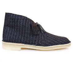 Clarks Desert Boot in Wool: Not your standard pair of Clarks.  These ones are in pinstriped wool.