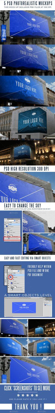 5 Photorealistic Billboard Banner Mock-Ups #billboard #mockup Download: http://graphicriver.net/item/5-photorealistic-billboard-banner-mockups/11616807?ref=ksioks