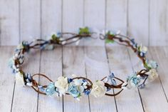 Flower Crown in white and blue White blue by LuckyKidsHandmade