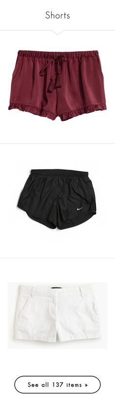 """Shorts"" by morgantaylor37 ❤ liked on Polyvore featuring shorts, nike, frilly shorts, satin shorts, ruffle shorts, activewear, activewear shorts, black, nike sportswear and nike activewear"