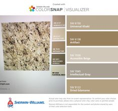 I found these colors with ColorSnap® Visualizer for iPhone by Sherwin-Williams: Universal Khaki (SW Artifact (SW Accessible Beige (SW Intellectual Gray (SW Dried Edamame (SW Kitchen Colour Schemes, Kitchen Paint Colors, Bathroom Paint Colors, Interior Paint Colors, Paint Colors For Home, Tan Paint Colors, Interior Plants, Beige Kitchen Cabinets, Bathroom Cabinets