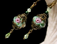 Forest Green and Pink Rosebud Crystal Pearl by TitanicTemptations, $32.00