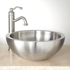 Buy the Signature Hardware 346806 Stainless Steel Direct. Shop for the Signature Hardware 346806 Stainless Steel Tamarisk Double Wall Stainless Steel Vessel Sink and save. Stainless Steel Polish, Stainless Steel Sinks, Brushed Stainless Steel, Cuba, Lavatory Sink, Wall Mount Faucet, Vessel Sink Bathroom, Modern Bathroom, Bathroom Ideas