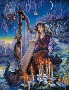 Another favorite artist, Josephine Wall. This is how I envision the Goddess Brighid to look. I had this print on my Goddess altar for many years. Josephine Wall, Art Expo, Gods And Goddesses, Fairy Art, Illustrations, Belle Photo, Fantasy Art, Wall Art, Artwork