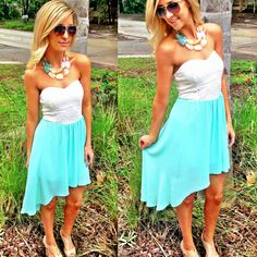 NEW mint high low dress available online & in store at Sophie! $29.99, shop www.sophieandtrey.com
