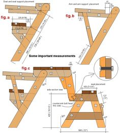 sectional plans for the folding picnic table