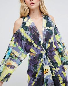 53f204325ccdb4 ASOS Abstract Kimono Cold Shoulder Midi Dress at asos.com