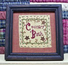 primitive bathroom stitchery | Primitive Framed Stitchery Country Bath Black Frame Glass Rusty Stars ...