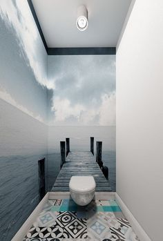 Effective wall and room design with photo wallpaper- Effektvolle Wand- und Raumgestaltung mit Fototapete matching bathroom tiles and wall wallpaper for effective room design of the small toilet - Small Bathroom Wallpaper, Bathroom Design Small, Bathroom Designs, Small Bathroom Inspiration, Bathroom Ideas, Bathroom Vanities, Bathroom Storage, Bathroom Cabinets, Bathroom Renovations