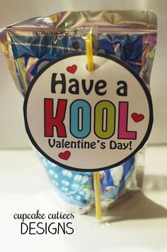 Cupcake Cutiees: Kool Valentine- Juice Box or Bottle Digital Printable Tags