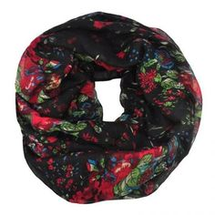 PRETTY VINTAGE BLACK RED LEAF FLORAL LADIES SNOOD SCARF COWL WRAP