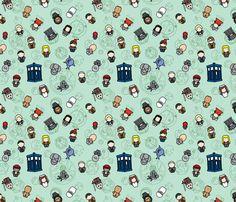 Whovian Christmas fabric by studiofibonacci on Spoonflower - custom fabric