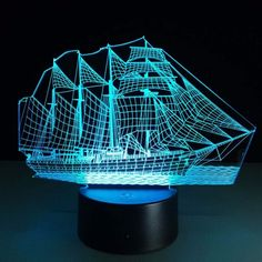 #3D #Optical #Illusion #Lamp #Night #Light #Sailing #Boat