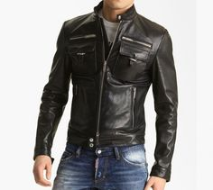 Dsquared2 'Chic' Leather Moto Jacket