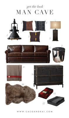 get the look,  Man Cave interior design, decor, den, moodboard mood board home decor, homedecor