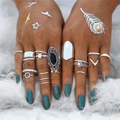 AC/_ 10Pcs Midi Ring Set Vintage Anillos Knuckle Rings Boho Women Jewelry Exquisi
