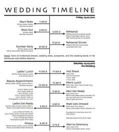 Example Wedding Reception Timeline. This is a typical format for a ...