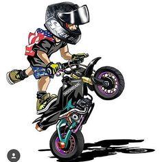Badass Motorcycle Artwork by Scaronistefano Stunt Bike, Moto Bike, Motorcycle Art, Bike Art, Motorcycle Touring, Motorcycle Quotes, Wheeling, Dirtbikes, Super Bikes