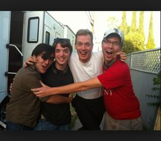 """Tim, Troy, and Joseph of Marble Hornets with Doug Jones on the set of """"Always Watching: A Marble Hornets Story"""""""