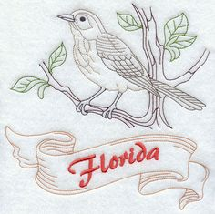 Florida - Mockingbird (Redwork)