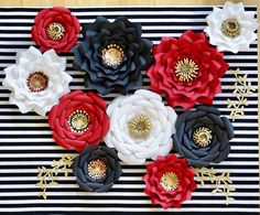Red Black White Gold Paper Flowers Set, Minnie Mouse Nursery Wall Decor, Custom Bridal or Baby Shower Backdrop, Alice Wonderland, Chanel Large Paper Flowers, Paper Flower Wall, Paper Flower Backdrop, Flower Wall Decor, Gold Flowers, Giant Flowers, Gold Paper, Pink Paper, Minnie Mouse Nursery