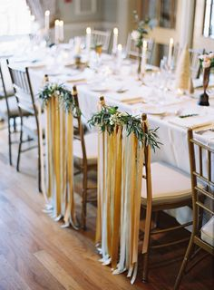 Ribbon and Greenery Wedding Chair Decor