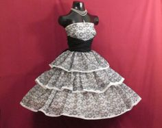 Vintage 1950's 50s STRAPLESS Black Lace White Chiffon Circle Skirt Party Prom Wedding DRESS Gown