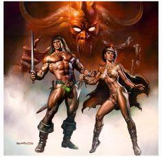 """Conan the Fearless"" paperback cover painting. By Boris Vellajo, Pulp Fiction Art, Boris Vallejo, Fantasy Characters, Comic Art, Vallejo, Fantasy Artwork, Scifi Fantasy Art, Sword And Sorcery, Dark Fantasy Art"
