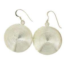 Round Sterling Silver Disc Dangle Earrings .925 Hook