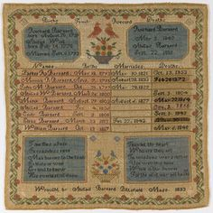 Family Register Sampler, 1833