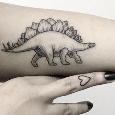 maryellengroundwater    2 in 1! Stegosaurus and lil finger tattoo on Sanaz (I ❤️…