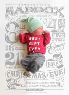 I love this style of announcement...the grey lettering in the background and the cool 3D effect they gave the baby....