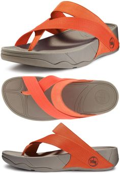 The new FitFlop Sling Sport Sandals in Fresh Orange are sporty sandals with organic lines throughout. The Sling Sandal features canvas straps across the foot and wrap around the toe for all day comfort. The Sling Sport Sandal is made on the famous FitFlop Microwobbleboard midsole.
