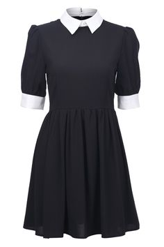 Retro Lapel Neck Black Dress