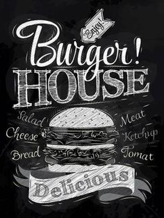 Poster lettering burger house delicious, in retro style drawing with chalk on chalkboard background. Chalkboard Writing, Chalkboard Lettering, Chalkboard Designs, Hand Lettering, Burger Bar, Burger Menu, Real Burger, Deco Restaurant, Burger Restaurant
