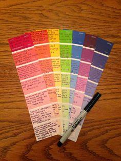 Look Around The Corner: Teksten kleuren kaarten idee.