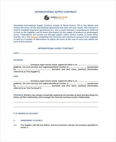 Sample Business Contract Template Word Format   Simple
