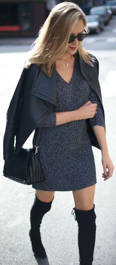 Memorandum Gray Little Sweater Dress Fall Street Style Inspo