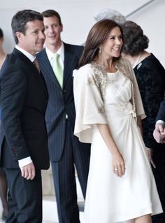 Crown Prince Frederik & Crown Princess Mary of Denmark (her dress is so goregous!)