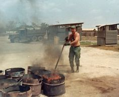 Shit burning detail, a skill I learned in Vietnam and taught to my troops in Honduras, 18 years later. Vietnam History, Vietnam War Photos, North Vietnam, Vietnam Veterans, Vietnam Map, Military Photos, Military History, Military Humour, Army Humor