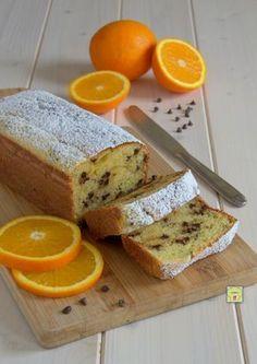 plumcake leggero arancia e gocce di cioccolato alla ricotta, sena burro e olio