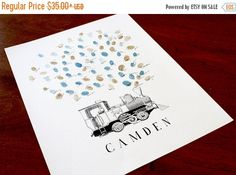 ON SALE Guest book thumbprint Train steam engine by bleudetoi