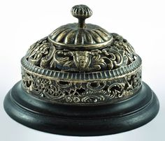 Antique Silver Plated Victorian Hotel Bell with by BirneyCreek
