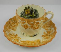 Spode Copeland Vintage Yellow Black Two Color Transferware Demitasse Cup and Saucer May Urn Roses Italian Garden Scenery