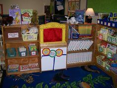 """i like this drama workstation.  it has a box for reader's theater scripts, drama puppets, a magnet board for story pieces, and the """"stage""""."""