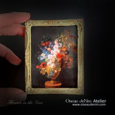 Miniature Painting Prints Picture Frame Still Life-Flowers in the Vase Genre: still life Dimensions: Material:resin, plaster, paper, patina Painting Frames, Painting Prints, Still Life Flowers, Artist Supplies, Antique Frames, Painting Still Life, Print Pictures, Picture Frames, Miniatures