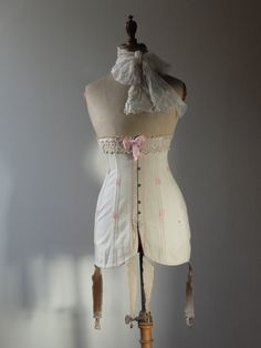 Antique, new old stock Corset, French, belle epoque, cream cotton with pink flossing, Jeanne D'Arc living, Nodic living decor by FrenchModeVintique on Etsy
