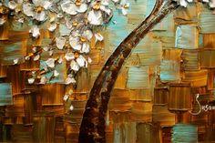 Árbol grande ORIGINAL pintura abstracta blanco por ModernHouseArt